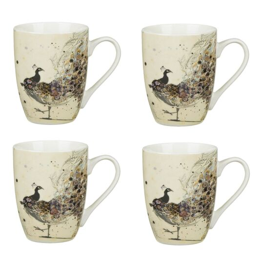 Bug Art Set of 4 Boxed Peacock Mugs