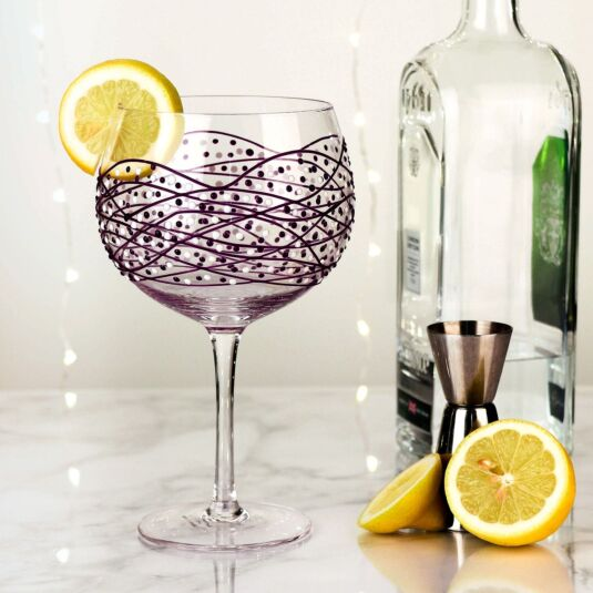 Sunny By Sue Purple Swirl Gin Glass
