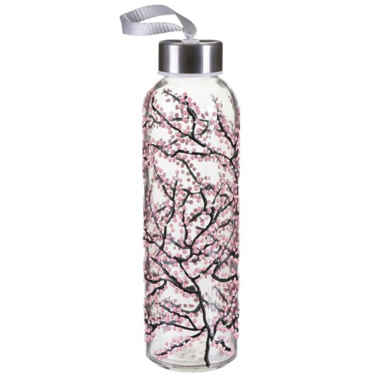 Sunny By Sue Pink Blossom Glass Water Bottle
