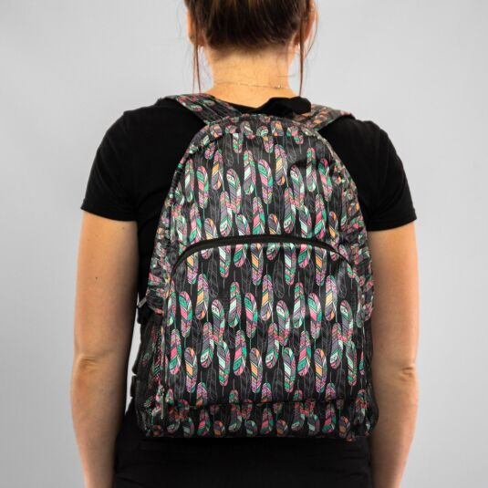 Eco Chic Black Feather Foldaway Backpack