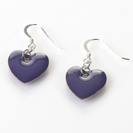 Purple Enamel Heart Earrings