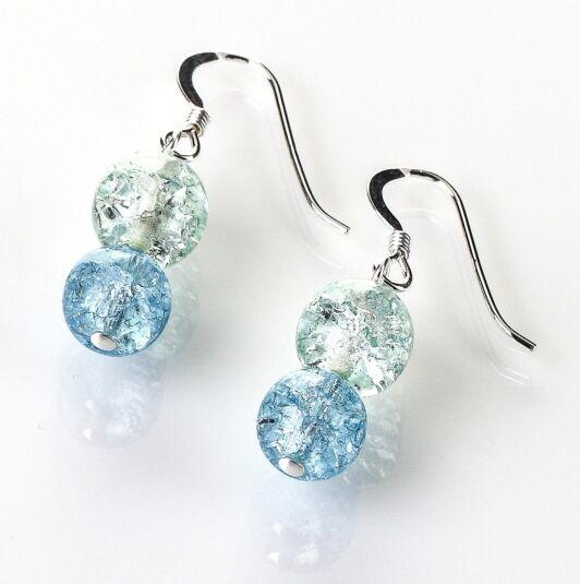 Blue/Green Crackle Globes Earrings