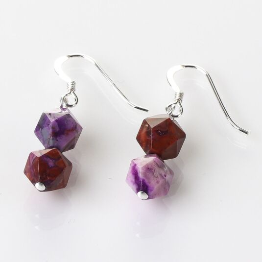 Violet Faceted Agate Earrings