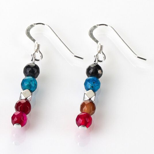Rainbow Medley Agate Earrings