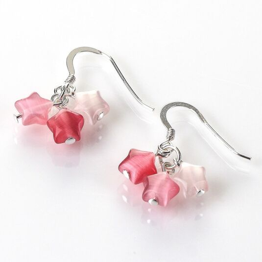 Pink Cats Eye Stars Earrings