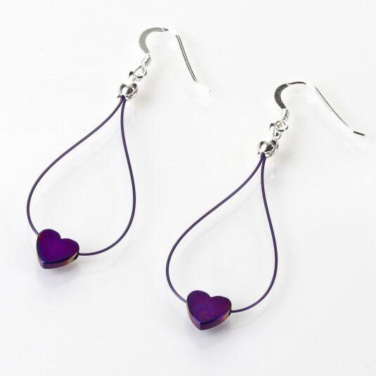 Royal Purple Haematite Heart Earrings