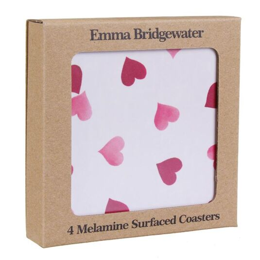 Set Of 4 Pink Hearts Coasters