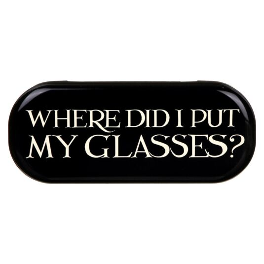 'Where Did I Put My Glasses' Black Toast Glasses Case