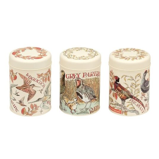 Game Birds Set of 3 Round Caddies