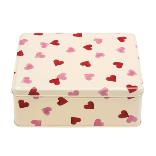Pink Hearts Deep Rectangular Tin