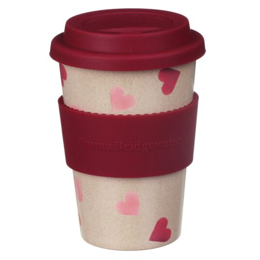Pink Hearts Rice Husk Travel Cup