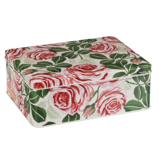 Pink Rose Deep Rectangular Tin
