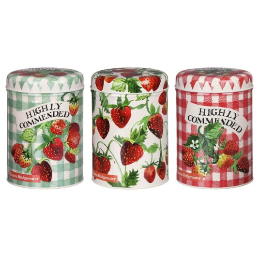 Strawberries Set of Three Round Caddies