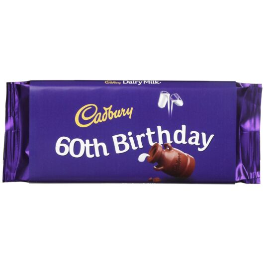 '60th Birthday' 110g Dairy Milk Chocolate Bar