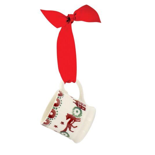 Christmas Joy Red And Green Tiny Mug Tree Decoration Boxed