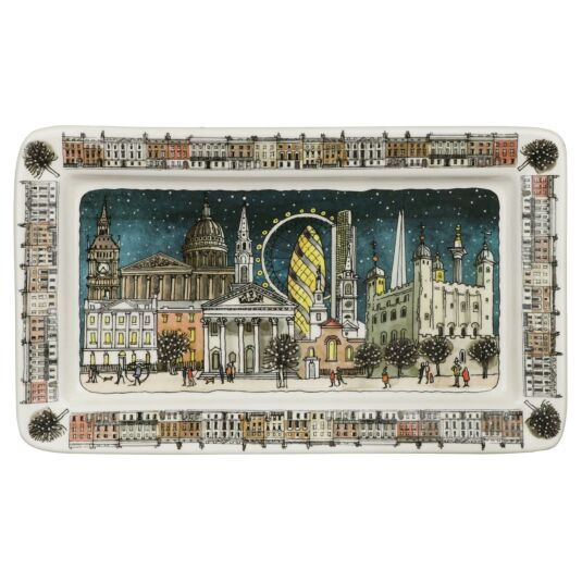 London at Night Medium Oblong Plate