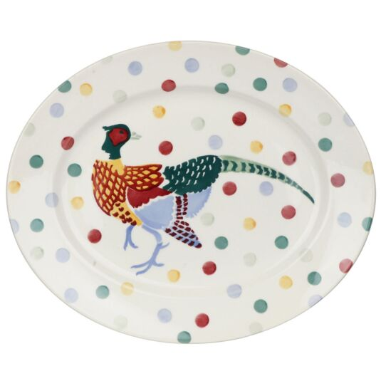 Polka Dot Pheasant Medium Oval Platter