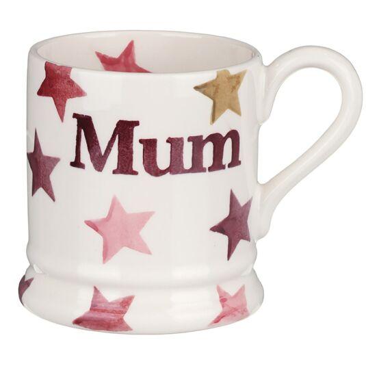 Pink & Gold Stars 'Mum' Half Pint Boxed Mug