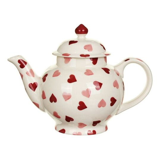 Pink Hearts Four Mug Boxed Teapot