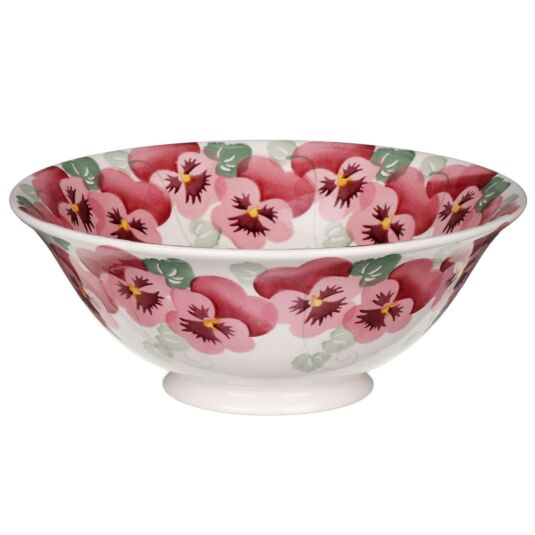 Pink Pansy Medium Serving Bowl
