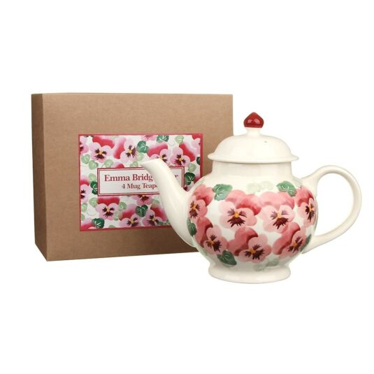 Pink Pansy Four Mug Teapot in Gift Box