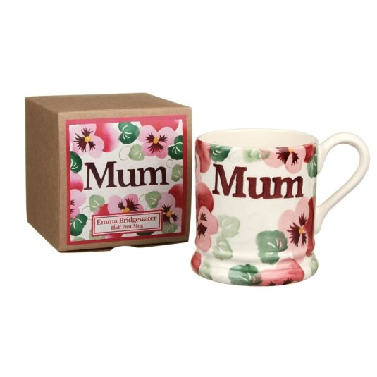 Pink Pansy Mum Half Pint Boxed Mug