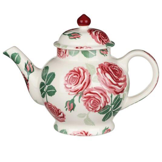 Pink Roses 4 Mug Boxed Teapot