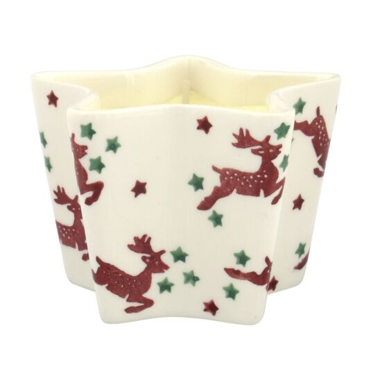 Red Reindeer Star Candle Dish