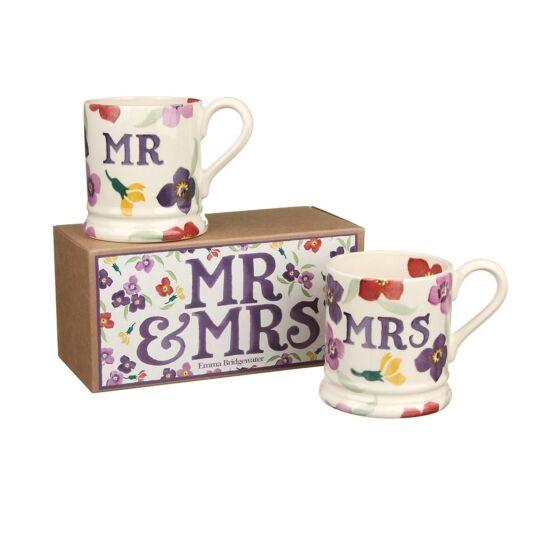 Mr & Mrs Set of Two Half Pint Boxed Wallflower Mugs
