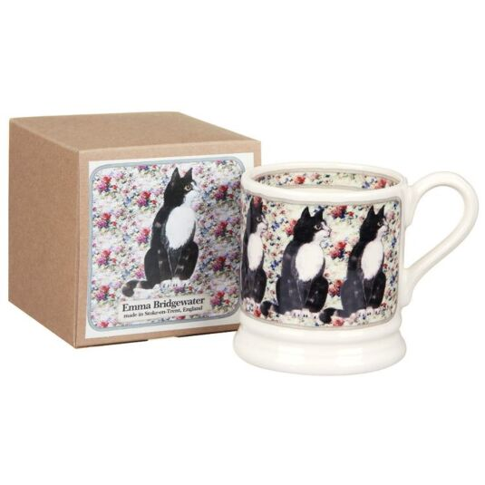 Black and White Cat on Rug Boxed Half Pint Mug