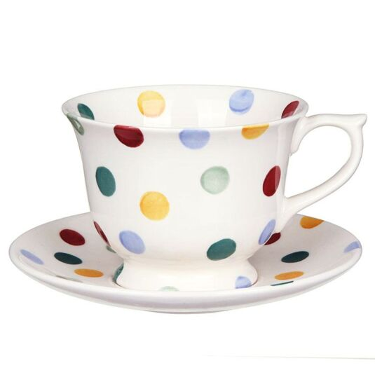 Polka Dot Large Teacup and Saucer