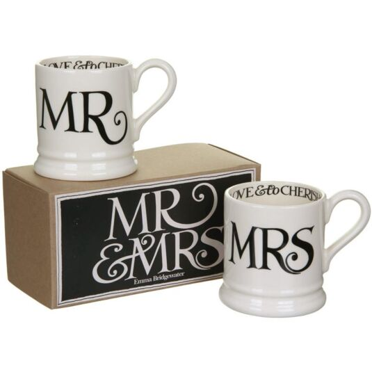 Black Toast Mr & Mrs Boxed set of Two Half Pint Mugs