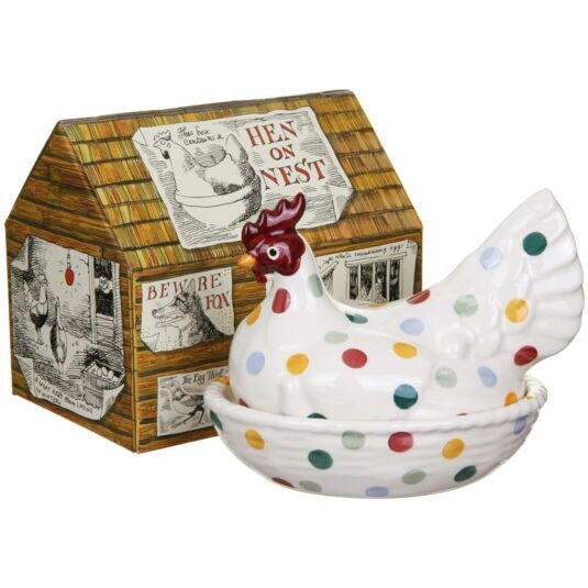 Polka Dot Large Hen on Nest Boxed