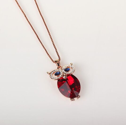 Red Crystal Owl Necklace