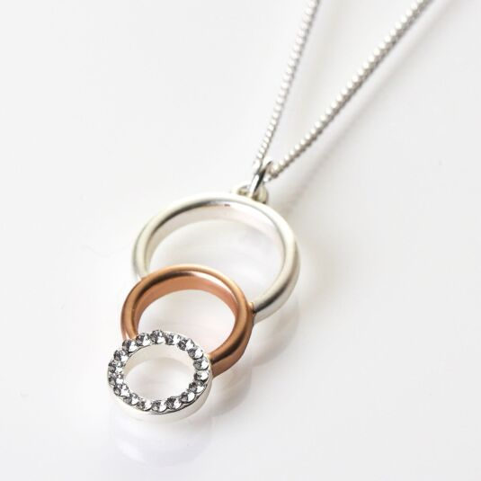 ca8f44bd4 Equilibrium Silver and Rose Gold Plated Triple Circle Necklace | Temptation  Gifts