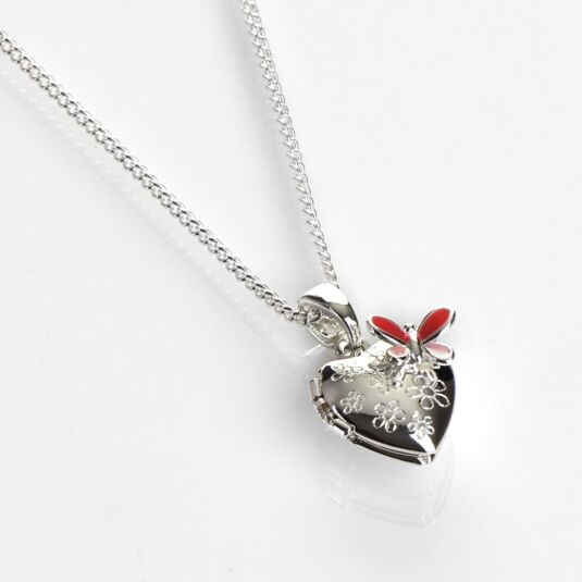 Girls Silver Plated Butterfly Heart-Shaped Locket