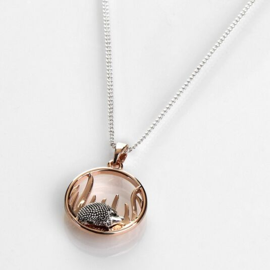 Country Hedgehog Round Two Tone Necklace