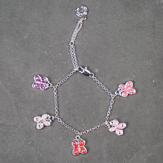 Girls purple sparkle butterfly charm bracelet necklace set Choose charm gift box