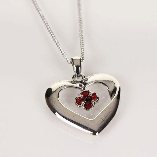 Poppy Heart Necklace