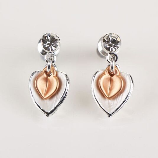 Matt Silver/ Rose Gold Plated Heart Earrings