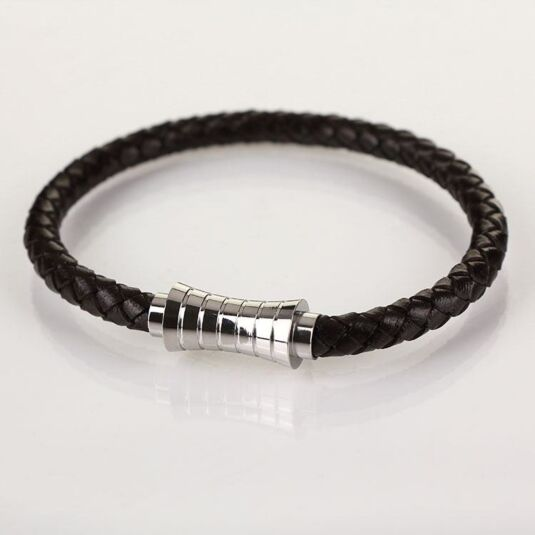 Men Indent Clasp Brown Leather Bracelet