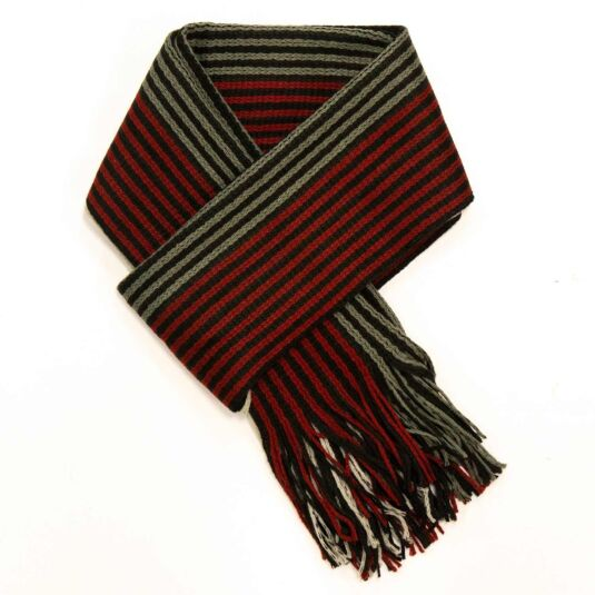 Red, Green, & White Striped Men's Scarf