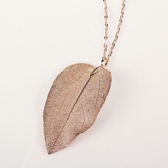 Rose Gold Plated Leaf Necklace