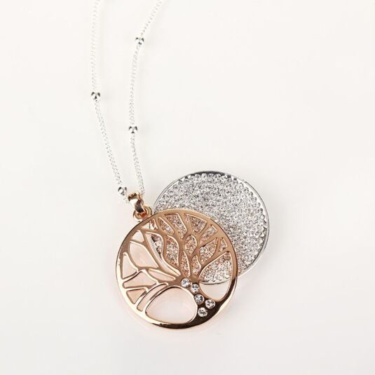 Rose Gold Filigree Disk Long Necklace
