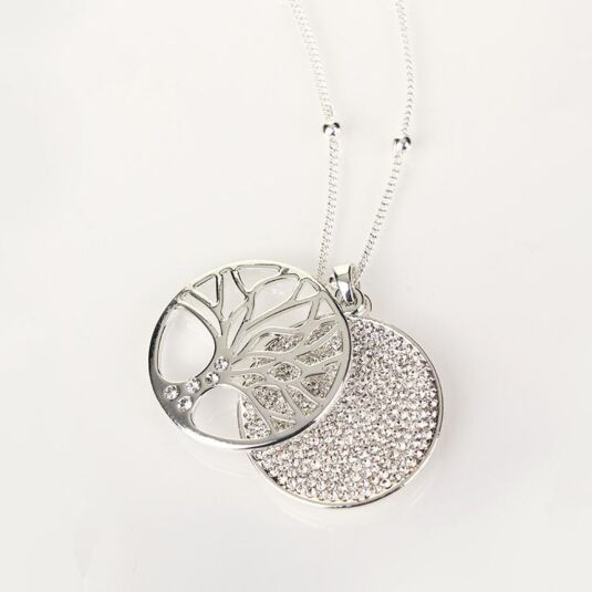 Silver Filigree Disk Long Necklace