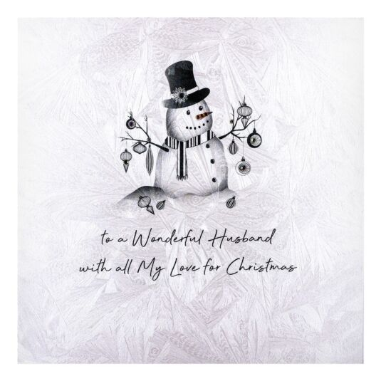 'To A Wonderful Husband' Snowman Christmas Card