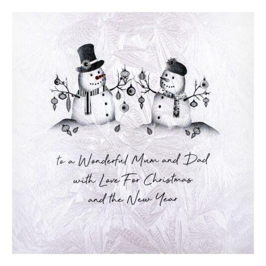 'To a Wonderful Mum & Dad' Snowman Christmas Card