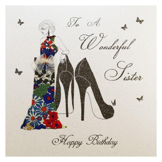 Moonbeams & Butterflies To a Wonderful Sister - Happy Birthday Card