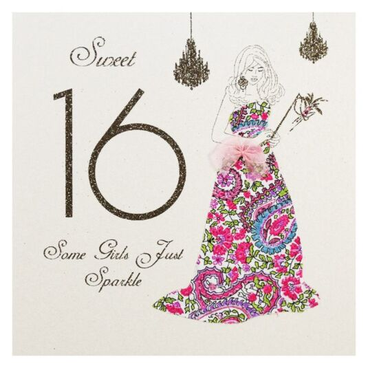 Moonbeams & Butterflies Sweet 16 - Some Girls Just Sparkle Birthday Card