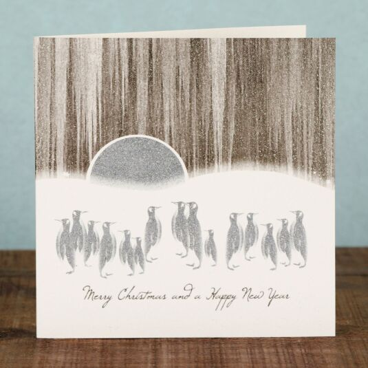 Penguins and Moon Scene - Box of 6 Christmas Cards